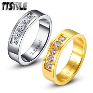 TTstyle 6mm Stainless Steel Eternity Wedding Band Ring With Sparkling CZ