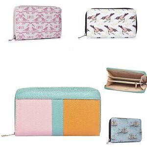 Ladies Large Purse Wallet Zip Around Leather Card Holder Fashion Clutch Bag UK