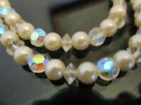 Vintage Signed Laguna Aurora Borealis Crystal Faux Pearl Bead 2 Strand Necklace!