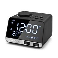 Bluetooth 4.2 Radio Alarm Clock Speaker With 2 Usb Ports Led Digital Alarm Clock