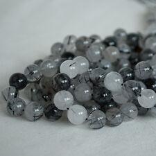 Grade A Natural Tourmalinated Quartz Gemstone Round Beads 4mm 6mm 8mm 10mm