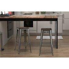 Set of 2 Gunmetal Grey Bar Height Stools Stackable Chairs Metal Backless Chic 30