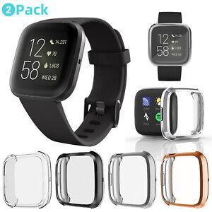 2Pack For Fitbit Versa 2/3/Sense Clear Soft TPU Case Screen Protector Full Cover