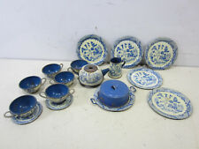 Vintage Ohio Art Tin Tea Set - Blue Willow Chinese Pattern
