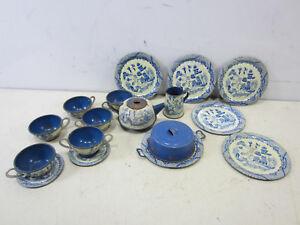 Vintage Tin Tea Set - Blue Willow Chinese Pattern