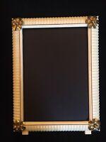 Vintage Dresser Picture Frame Celluloid? Plastic Bakelite? w/ sweet Gold flowers