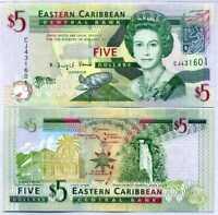 EAST CARIBBEAN 5 DOLLARS 2008 P 47 UNC LOT 5 PCS
