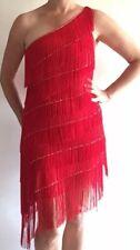 Salsa Dance Costume Red Fringe One Shoulder Bias Cut Dress Faux Sequin-Diamonds