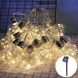 LED Solar Power String Lights Bulb Festoon Copper Wire Outdoor Garden Decoration