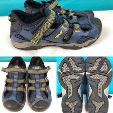 Boys Youth TEVA Blue/Yellow Leather & Textile Sandals Shoes SIZE 6 EU 38/39 UK 5
