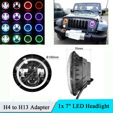 "7"" Hi/Lo Beam Headlight Bluetooth Control RGB LED HALO Angel Eye Light for Jeep"