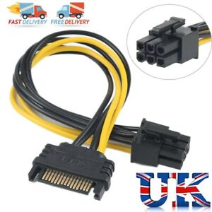 20cm 15 Pin SATA Power to 6 Pin PCIe PCI-e PCI Express Cable For Video Card UK