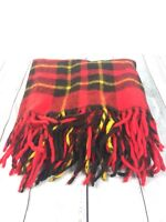"Vintage Red Plaid 100% Wool Stadium Blanket with Fringe EUC 54"" x 54"" Picnic"