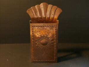Vintage Punched Copper Tin Match Box Holder Sun & Rays Sweden Handarbete Patina