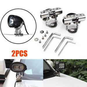 2PCS Car SUV Offroad LED Work Lamp light Mount Bracket Holder 304Stainless Steel