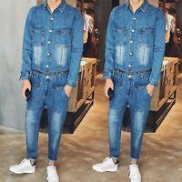 2017 Fashion Men's Denim Jumpsuits Overalls Hip Hop Casual Pant Slim Jeans Suits