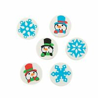 Pack of 12 - Rubber Mini Snowman & Snowflake Erasers