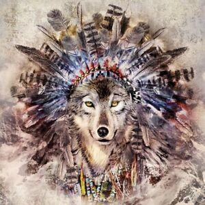 4 x Single Paper Table Napkin/33cm/Decoupage/Animals/Indian Headdress/Magic Wolf