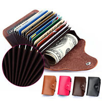 Men Women Leather ID credit Card holder Clutch Bifold Coin Purse Wallet Pockets