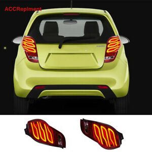 2Pcs For Chevrolet Spark Tail Lights Assembly 2010-2014 Red Color LED Rear Lamps
