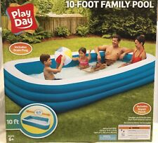 "Play Day Inflatable 10' Foot Rectangular Family Pool 120""x72""x22"" New In Box!"