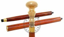 Antique Wooden Walking Stick Cane Victorian Style Solid Brass Knob Handle Gift