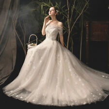 Elegant off-shoulder wedding dress shinning star lace bridal gown sweep dress