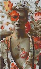 David Bowie with Flowers Collage DIGITAL Counted Cross-Stitch Pattern Chart