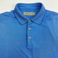 Tommy Bahama Polo Shirt Men's Medium Short Sleeve Blue Casual Modal Blend