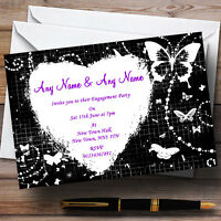 Black White Butterfly Engagement Party Personalised Invitations