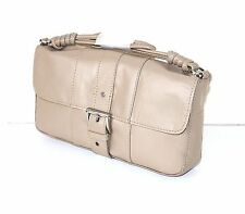 Taupe 100% Real Leather MNG MANGO Small Women's Handbag Shoulder Clutch Bag