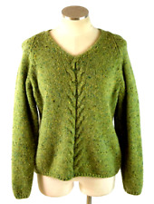 Vtg 90s Ll Bean Green Mohair Wool V Neck Sweater Chunky Cable Knit Womens Size M