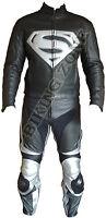 SUPERMAN STYLE BLACK & SILVER MENS MOTORBIKE / MOTORCYCLE LEATHER JACKET & SUIT