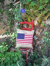 American Flag  Burlap Pillow 18x18 Throw Decorative French Country  1pc