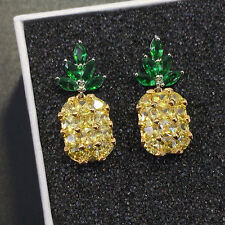 Woman Girl Gold-plated Trim Pineapple Puncture Tropical Yellow Zircon Earrings