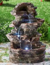 Stone Look Water Fountain with Lights Garden Stacked Indoor Outdoor Waterfall