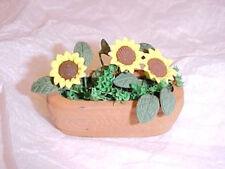 Dollhouse Mini Sunflowers in a Terra Cotta Planter 1:12 Doll House Miniatures