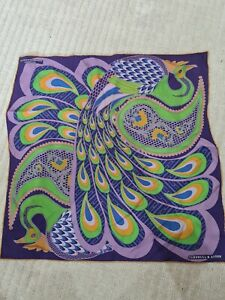 Turnbull and Asser silk pocket square peacock design
