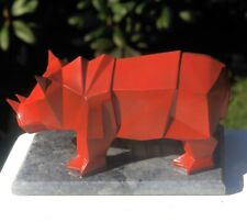 Modern Contemporary Art Red Rhino Marble Based Sculpture