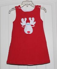 Girls Custom Boutique Handmade Red Reindeer Christmas Holiday Dress size 18-24m