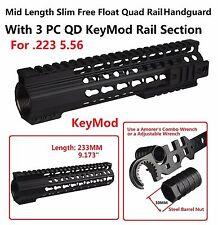 "Slim 9"" Mid Length KeyMod Free Float Handguard .223 223 5.56 Rail Sections Inclu"