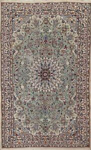 Antique Floral Sage Green Traditional Oriental Area Rug Handmade Wool Carpet 5x8