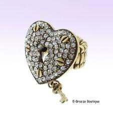 Antiqued Gold-Tone Crystal HEART Lock Stretch RING w KEY Charm