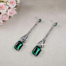 E15 Long Art Deco Gatsby 1920s Style Emerald Green Crystal Stud Dangle Earrings