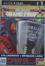AFL 2002 GRAND FINAL RECORD COLLINGWOOD v BRISBANE LIONS
