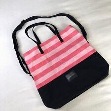 Victorias Secret Canvas Tote Bag Travel Beach Purse Large Pink Black Stripe
