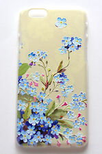 Apple iPhone 6 4.7 3D raised pattern blue pink flowers w green leaf cover case
