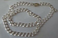 """20"""" Sterling Silver 13gram 7mm wide Diamond Cut Double Link Charm Necklace Chain"""