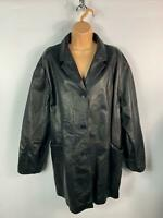 WOMENS NOBLE CLASSIC BLACK CASUAL LEATHER BUTTON UP JACKET COAT SIZE 3XL LARGE