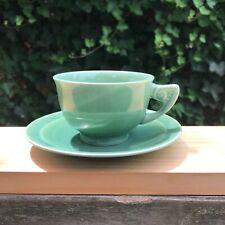 Art Wells Deco Green Tea / Coffee Cup & Saucer Set /full size/ Homer Laughlin